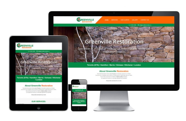 Greenville Restoration - view 1 / Portfolio / Khaztech - Web design and development studio