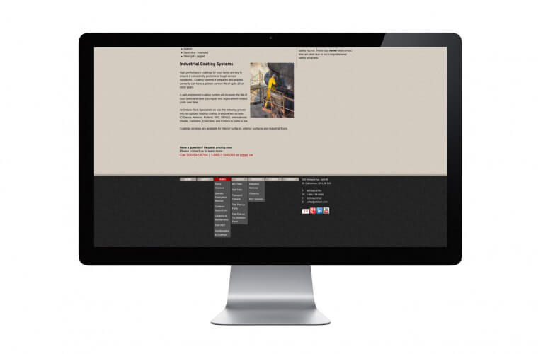 Ontario Tank Specialists - view 3 / Portfolio / Khaztech - Web design and development studio